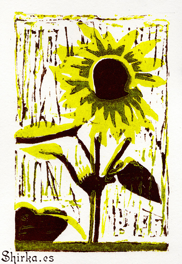 GRAVURE ON WOOD, XILOGRAPHY GIRASOLGRAVURE ON WOOD, XILOGRAPHY GIRASOL