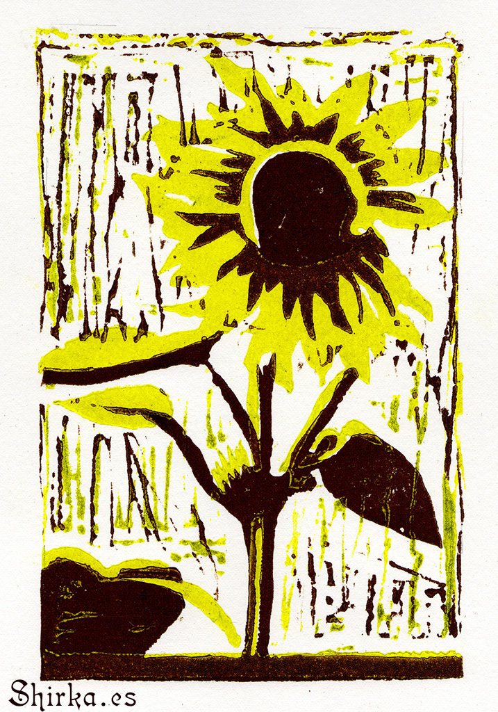 GRAVURE ON WOOD, XILOGRAPHY GIRASOL